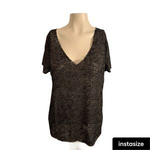 Urban Outfitters Black V-neck T-shirt